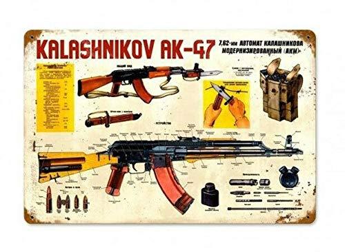 Letreros de metal 'ak-47 Kalashnikov Firearms 2nd Man Cueva Art Decoración de pared para bares, restaurantes, cafeterías pubs, 20.3 x 30.4 cm
