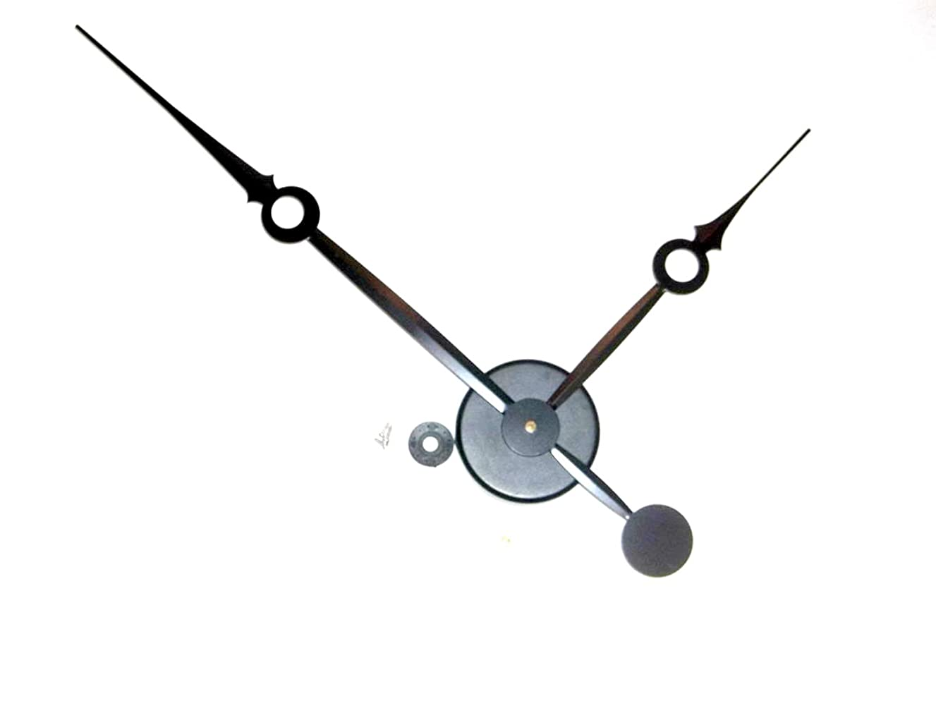 High Torque Clock Movement (Silent Sweep) Extended Shaft with 14 in. Long Balanced Black Fancy Sword Hands (No7) With Wall Mounting Hub