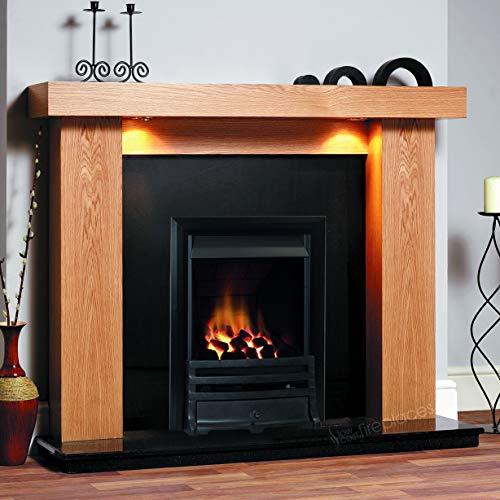 "Gas Oak Surround Black Granite Stone Coals Flame Black Fire Chunky Modern Fireplace Suite Spotlights - Large 54"""