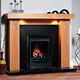 Gas Oak Surround Black Granite Stone Coals Flame Black Fire Chunky Modern Fireplace Suite Spotlights - Large 54""