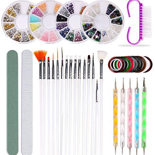10 PCS Nail Pen Designer, Professional 3D Nail Art Supplies with Glitter Nail Strass, Nail Art Brushes, Nail Dotting Pen, Nail Striping Tapes, Nail Polishing