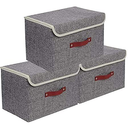 E-MANIS Set de 3 Boîte de Rangement,Caisses de Rangement,Boîte Range pour Vêtement,Jouets,Magazine pour Maison,Bureau,Crèche,Placard, Chambre à Coucher (Gris)