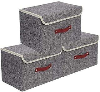 E-MANIS Set de 3 Boîte de Rangement,Caisses de Rangement,Boîte Range pour Vêtement,Jouets,Magazine pour Maison,Bureau,Crèc...