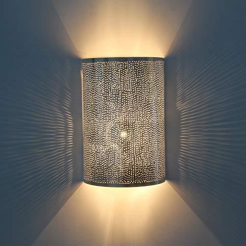 Orientalische Wandlampe marokkanische Wandleuchte Yakut H30 x B20 cm Silber | Echt versilberte Messing-Lampe | Schöne Wandbeleuchtung für tolle Lichteffekte wie aus 1001 Nacht | AWL1300
