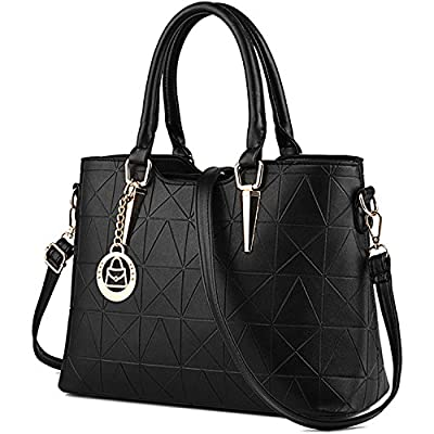 Bagerly Women Fashion PU Leather Shoulder Bags Top-Handle Handbag Tote Bag Purse Crossbody Bag
