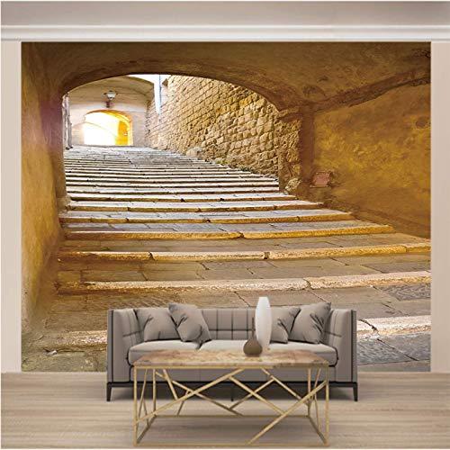 LucaSng Murales Decoración 3D pegatinas de pared - Arquitectura escaleras de piedra cuevas de piedra - Papel Tapiz Fotomural 3D Fondo De Autoadhesivo Moderna Murales Fotográfico Póster Salón Cuarto De