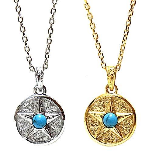 ペアネックレス 刻印無料 ペアハワイアンジュエリー 星 スター メダル コイン ターコイズ 金属アレルギー対応 ステンレス 花 写真フレーム フラワー:40-45cm ゴールド:45-50cm