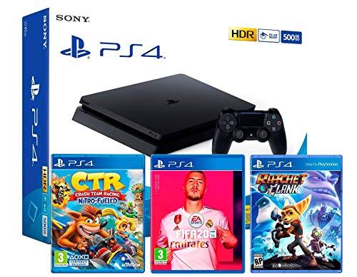 PS4 Slim 500Go Console Playstation 4 Noir (Pack 3 Jeux) + FIFA 20 + Crash Team Racing: Nitro Fueled + Ratchet & Clank