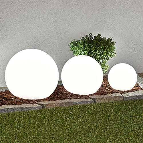 Lindby 3er Set LED Solarkugel aussen 20 cm, 25 cm, 30cm | mit Erdspieß| Solarlampe inkl. LED Leuchtmittel A+ | Solarleuchte Garten | Gartenleuchte solar IP44 | Tageslicht (6.500K)