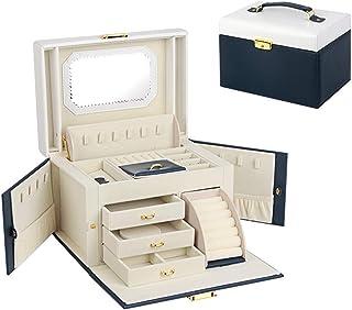 RANRANHOME Smyckeskrin organiserare för kvinnor, låsbara smyckeförvaringsfodral med spegel, PU-läder bärbar resefodral, fl...