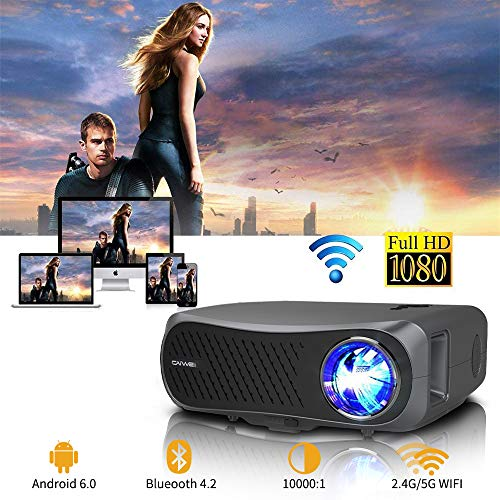 WIKISH Full HD 1080p Bluetooth Projector,200 Inch Home Theater Projector Support 5G Wifi 4K Video Wireless Airplay 4D Keystone HDMI for Laptop PS4 USB