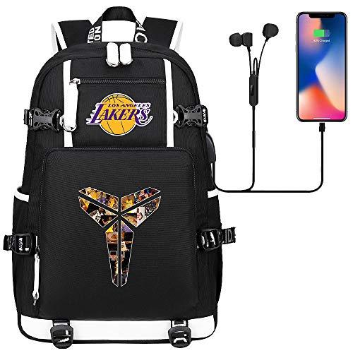 GXB Herren Sport Rucksack Leichtwasserwasserdicht Rucksack Basketball Tasche NBA Los Angeles Lakers Kobe Bryant Schwarz