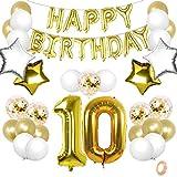 TaimeiMao 10er Cumpleaños Globos, Decoración de Cumpleaños 10, Globos Numeros Decoracion,Globos de Cumpleãnos,Globos Numeros Gigantes,Globo Numero,Globos Numeros Gigantes para Fiestas (Dorado, 10)