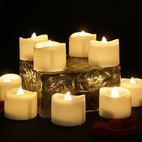 12pcs LED Warmweiß Teelichter mit Timerfunktion, Flackernden Flammenlosen und Batteriebetrieben Kerzen, Ideal als Weihnachtsdeko Urlaubsdeko, Dekoration für Haus und Geschäft- Welle
