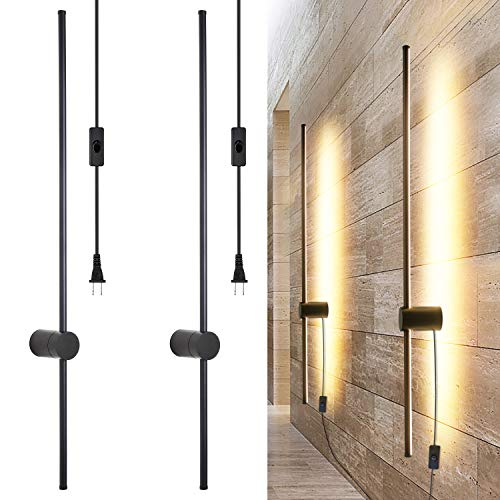 Ditoon Modern Plug in Wall Sconce Set of 2 LED Black Wall Lights with Plug in Cord On/Off Switch 39...