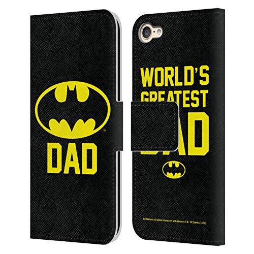 Head Case Designs Oficial Batman DC Comics Battdad Logotipos Carcasa de Cuero Tipo Libro Compatible con Apple Touch 6th Gen/Touch 7th Gen