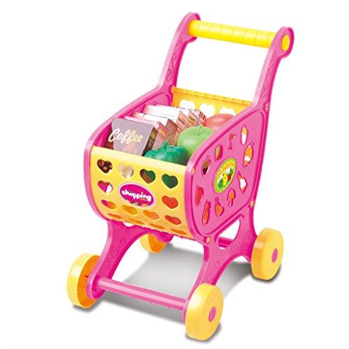 Blesiya Pretender Juego de Carrito de Compra Alimentos Frutas Vegetable Playset de Plástico Juguete Educativo para Niños - Rosado