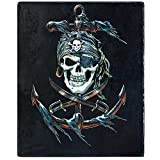 """Pirate Throw Blanket, Super-Soft Extra-Large Pirate Skull and Crossbones Blanket for Boys, Men, Kids, and Children, Boys Pirate Fleece Blanket (50"""" in x 60"""" in) Warm and Cozy Throw for Bed or Tapestry"""