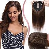 Elailite Lace Topper Donna Capelli Veri Clip Toupet Toupee Human Hair Extension 10cm*12cm con Silk Top Protesi Naturali Indiani 25cm 35g #4 Marrone Cioccolato