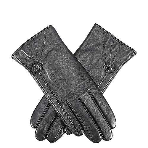 Dames Winter Leer Warmte Verdikking Plus Fluwelen Rijden Full Finger Touch Screen Holster Schapenvacht Dames Handschoenen