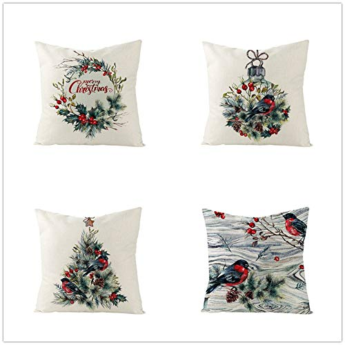QPY Square Cushion Covers Linen Cotton with Invisible Zipper for Decorative Sofa and Couch Throw Pillow Case Christmas 4 Pack 60x60cm(24x24inch) A426