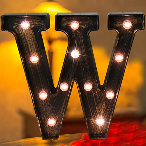 Elnsivo Vintage LED Marquee Letter Lights Light Up Industrial 26 Alphabet Name Signs Bar Cafe Initials Decor for Birthday Party Christmas Wedding Events(Letter W)