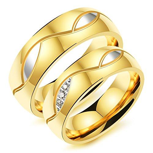 iLove EU Edelstahl Ring Bandring Zirkonia Gold Silber Augen Design Lieben Valentinstag Paar Partner Hochzeit Verlobungsringe Trauringe Herren - Größe 62