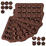 Whaline 6pcs Silicone Chocolate Molds, Chocolate Candy Mold, Cake Chocolate Making Molds Hard Chocolate Molds Kit for Kid, Men, Women Baking