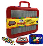 Matty's Toy Stop Brik-Kase 2-GO 13' Travel, Building, Storage & Organizer Container Case with Building Plate Lid (Holds Approx 1,500pcs) - Compatible with All Major Brands (Blue, Red & Gray)