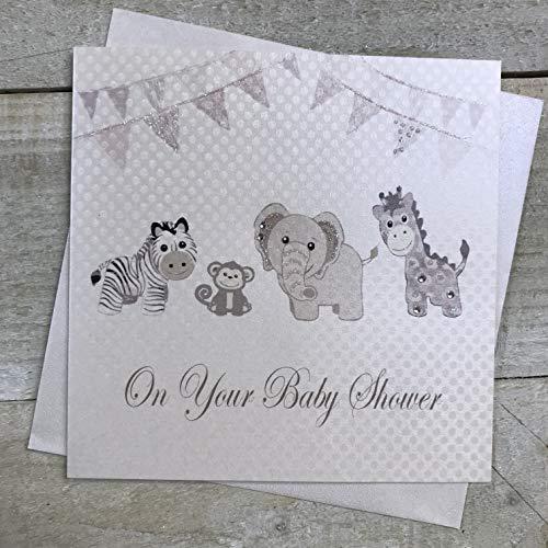 Witte katoenen kaarten 'On Your Baby Shower', handgemaakt, wit