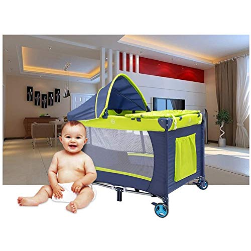 DXQDXQ Cot Travel Cot Portable with Mattress and Mosquito Net and Carry Bag Nursery Beds Tilt Resistant 104 x 78 x 77 cm Toddler Beds Baby Playpens Travel Tent Mattress (Color : Green)