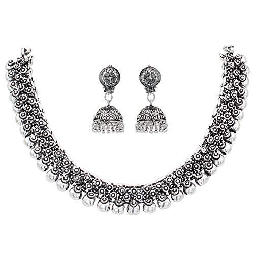 Sasitrends Oxidized German Silver Necklace with Earrings Jewellery Set for Women and...