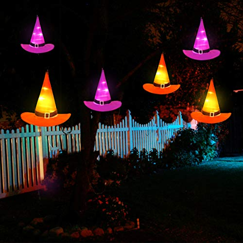 YUNLIGHTS Halloween String Lights, 6Pcs Witch Hats Light, 33ft Halloween Lights String