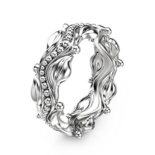 GUAngqi Eternity Promise Ring Plumeria Flower Beautiful Ring Leaf Ring for Wedding,10