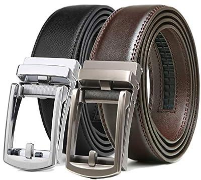 """Ratchet Click Belt 2 Pack,Leather Slide Dress Comfort Belt Adjustable with Buckle Gift Set (28""""-42"""" Waist Adjustable, Silver Buckle Black/Dark Brown Belt)"""