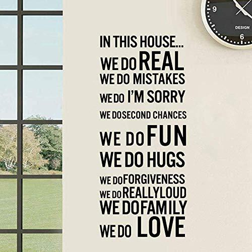 En Las Reglas De La Casa De Esta Casa, Nos Divertimos, Amor, Pegatinas De Pared Para El Hogar, Vinilo Extraíble, Decoración Del Hogar, Cita De Arte Mural, 100X45Cm