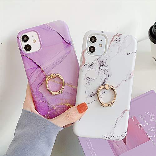 Bakicey iPhone 12 Pro Max Hülle, iPhone 12 Pro Max Marmor Handyhülle mit 360 Grad Ring Ständer Ultra Dünn Soft Silikon TPU Bumper Stoßfest Case Anti-kratzt Schutzhülle für iPhone 12 Pro Max, 02