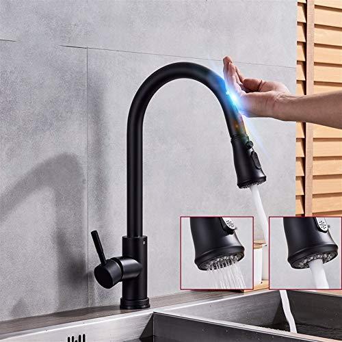 Zwarte Keuken Sense Kraan Dek Gemonteerd Een Gat Een Handvat Messing Mixer Tap met Pauze Knop 2 Outlet Mode Keukenkraan
