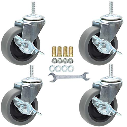 3 Inch Swivel Stem Caster Wheels with Brake Set of 4, M8-1.25 Threaded Stem Industrial Rubber Casters, Replacement for Furniture and Workbench