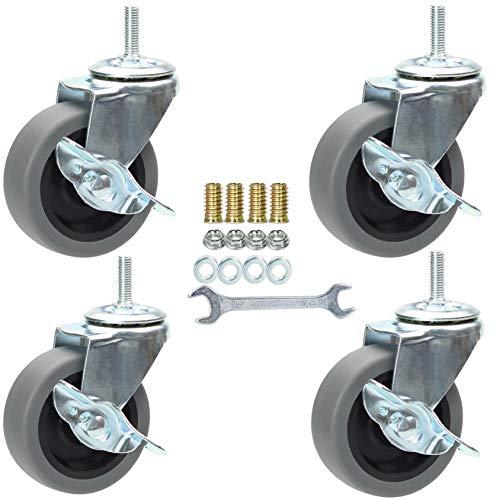 """APH6001QOajen 2-3//8/"""" heavy duty soft wheel caster 20 x 1/"""" stem 1//4/"""" set of 4"""