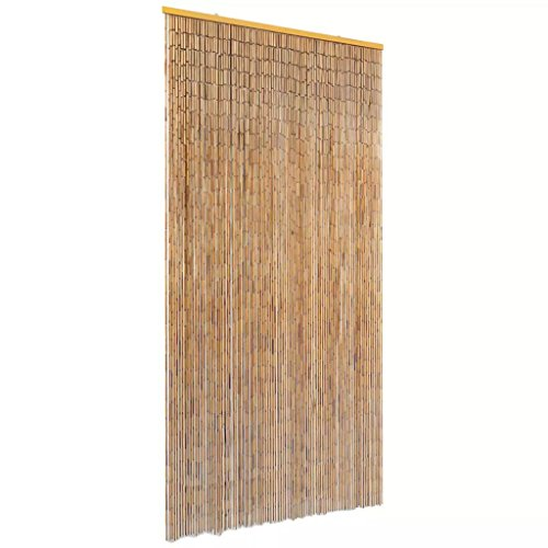 vidaXL Insektenschutz Türvorhang Fliegenschutz Dekovorhang Bambusvorhang Raumteiler Faden Vorhang Deko für Balkontür Bambus 90x220cm