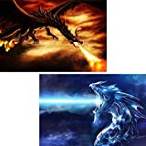 2 Pack 5D Diamond Painting Ice Dragons and Fire Dragons by Number Kits for Adults Bimkole Paint with Diamonds Arts Craft Home Bedroom Decor, 12x16inch