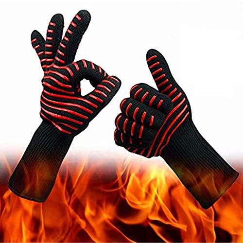 Finger Ten Guantes de Barbacoa 1472 extremada Resistencia al Calor 1/2 Paquetes, Guantes de Cocina, Guantes de Silicona a Prueba de Incendios, barbacoas a Alta Temperatura, hornos de Cocina