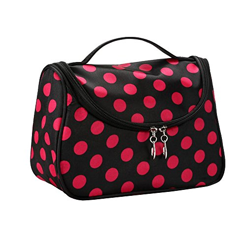 Contever® Multifonction Pouch Makeup Cosmetic Bag Case Toiletry Zip Wash Polka Dots Organizer Voyage Big Size - Hot Pink