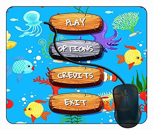 Mauspad Hölzerner aktivierter deaktivierter Knopf Text, 24x20cm Gaming Mauspad Matte Reibungslos Weich Rutschfester Gummi Basis für PC Laptop