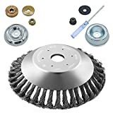 NeJesZoe 8 Inch Steel Wire Brush Cutter Trimmer Head Sets Weeds Blade Cutter Replacement for String Trimmers, Gardening Lawnmower, Moss Grass Rust Removal (2 Pack Different Adapter Kit Included)