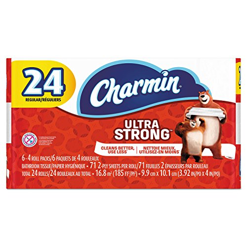 Charmin 99016 Ultra Strong Bathroom Tissue, 2-Ply, 4' x 3.92', 71 Sheets per Roll (Pack of 24)