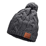 Neraon Newest Bluetooth 5.0 Wireless Bluetooth Beanie with Detachable HD Stereo Speakers & Mic, Bluetooth Headphones Beanie Music Hats for Outdoor Sports(Brownish Gray)