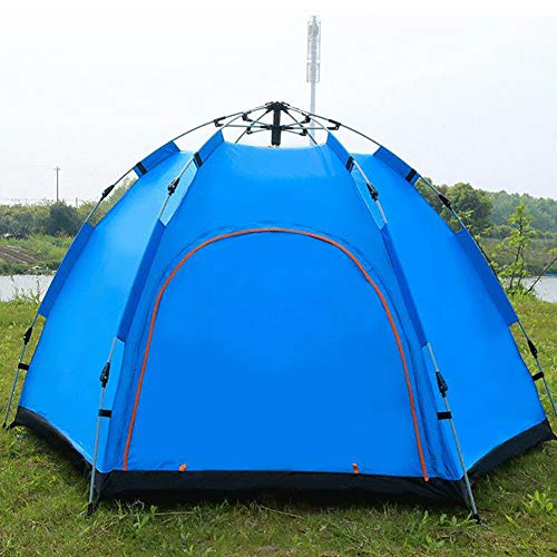 ZYCWBW Automatic Pop Up Camping Tent, 3-4 Person Dome Tent Windproof Waterproof Camping Tent for 3 Seasons, Perfect for Camping, Hiking, Backpacking & Mountaineering, Easy Set Up,Blue