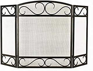 Style Selections 50.15-in Black Powder Coated Steel 3-Panel Scroll Fireplace Screen